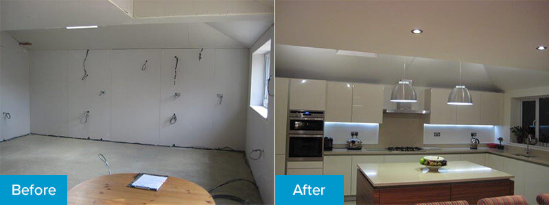 Before and after interior lighting installation